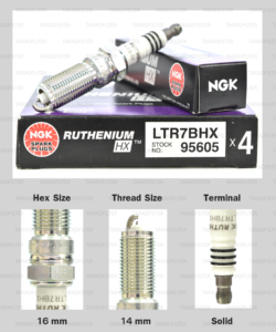 NGK หัวเทียน Ruthenium HX ขั้ว Ruthenium LTR7BHX ( อัพเกรด LTR7IX-11 ) - Made in Japan