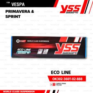 YSS โช๊คแก๊สหน้าและหลัง ใช้สำหรับ Vespa Sprint / Primavera 【 VK302-230T-03-888 】,【 OK302-360T-02-888 】 โช๊คหน้าสปริงดำ / โช๊คหลังสปริงดำ [ โช๊ค YSS แท้ 100% พร้อมประกันศูนย์ 6 เดือน ]