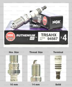 NGK หัวเทียน Ruthenium HX ขั้ว Ruthenium TR5AHX ( ใช้อัพเกรด TR55IX )- Made in Japan