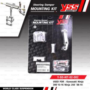 ชุดกันสะบัด YSS STEERING DAMPER CLAMP A SET พร้อมขาจับ สี Platinum สำหรับมอเตอร์ไซค์ NINJA300 '13-'16 / NINJA250 '08-'16 [ EG188-078C-01-R , Y-SD-KIT-02-002 ]
