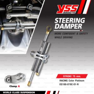YSS STEERING DAMPER กันสะบัด CLAMP A สี Platinum รุ่น Titanium Racing สำหรับมอเตอร์ไซค์ [ EG188-078C-01-R ] สำหรับ CB650F / Ninja300 / Ninja250 / Ninja400 / Versys650 / R3 / R6 / T100