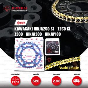 JOMTHAI ชุดโซ่สเตอร์ Pro Series โซ่ X-ring สีทอง และ สเตอร์สีดำ ใช้สำหรับมอเตอร์ไซค์ Kawasaki Ninja250 SL / Z250 SL / Z300 / Ninja300 / Ninja400 [14/41]