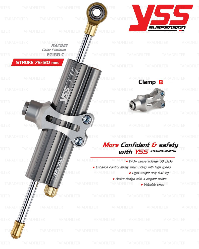 YSS STEERING DAMPER กันสะบัด CLAMP B สี Platinum รุ่น Titanium Racing สำหรับมอเตอร์ไซค์ [ EG188-078C-02-R ]