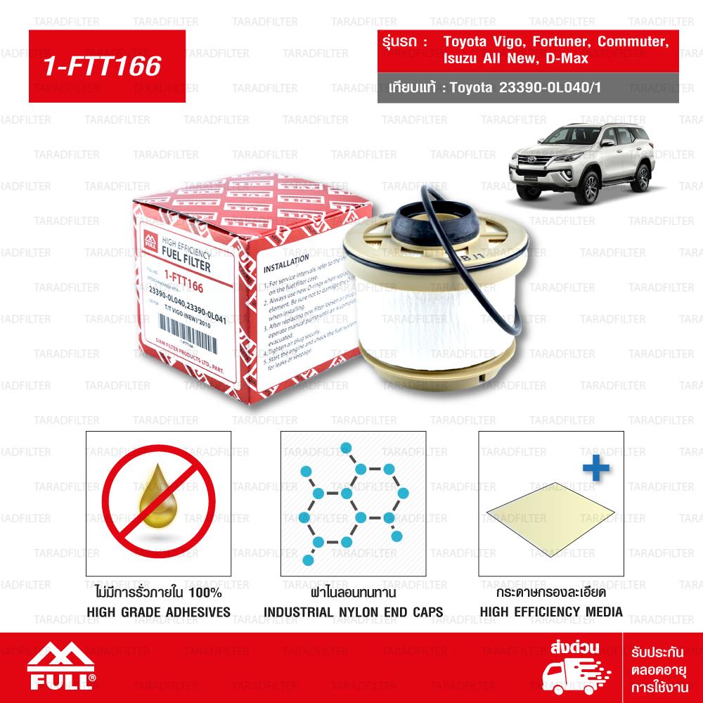 FULL ไส้กรองนํ้ามันโซ่ล่า ไส้กรองนั้ามันดีเซล ไส้กรองดักนํ้า รุ่นกระดาษกรอง High Efficiency ใช้สำหรับ Toyota Vigo วีโก้ Fortuner ฟอร์จูนเนอร์ Commuter รถตู้คอมมูเตอร์, Isuzu All New D-Max อีซูซุ ออล นิว ดีแม็ก 2.5,3.0 [1-FTT166]