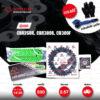 JOMTHAI ชุดโซ่-สเตอร์ โซ่ X-ring (ASMX) สีเขียว และ สเตอร์สีดำ ใช้สำหรับมอเตอร์ไซค์ Honda CBR250R CB300F CBR300R [14/36]