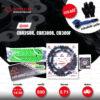 JOMTHAI ชุดโซ่-สเตอร์ โซ่ X-ring (ASMX) สีเขียว และ สเตอร์สีดำ ใช้สำหรับมอเตอร์ไซค์ Honda CBR250R CB300F CBR300R [14/38]