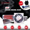 JOMTHAI ชุดโซ่-สเตอร์ โซ่ X-ring (ASMX) สีแดง และ สเตอร์สีดำ ใช้สำหรับมอเตอร์ไซค์ Honda CBR250R CB300F CBR300R [14/38]