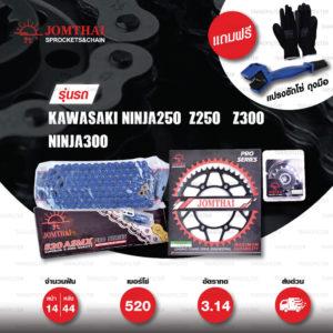JOMTHAI ชุดโซ่-สเตอร์ Pro Series โซ่ X-ring (ASMX) สีน้ำเงิน และ สเตอร์สีดำ ใช้สำหรับมอเตอร์ไซค์ Kawasaki Ninja250 SL / Z250 SL / Z300 / Ninja300 / Versys300 [14/44]