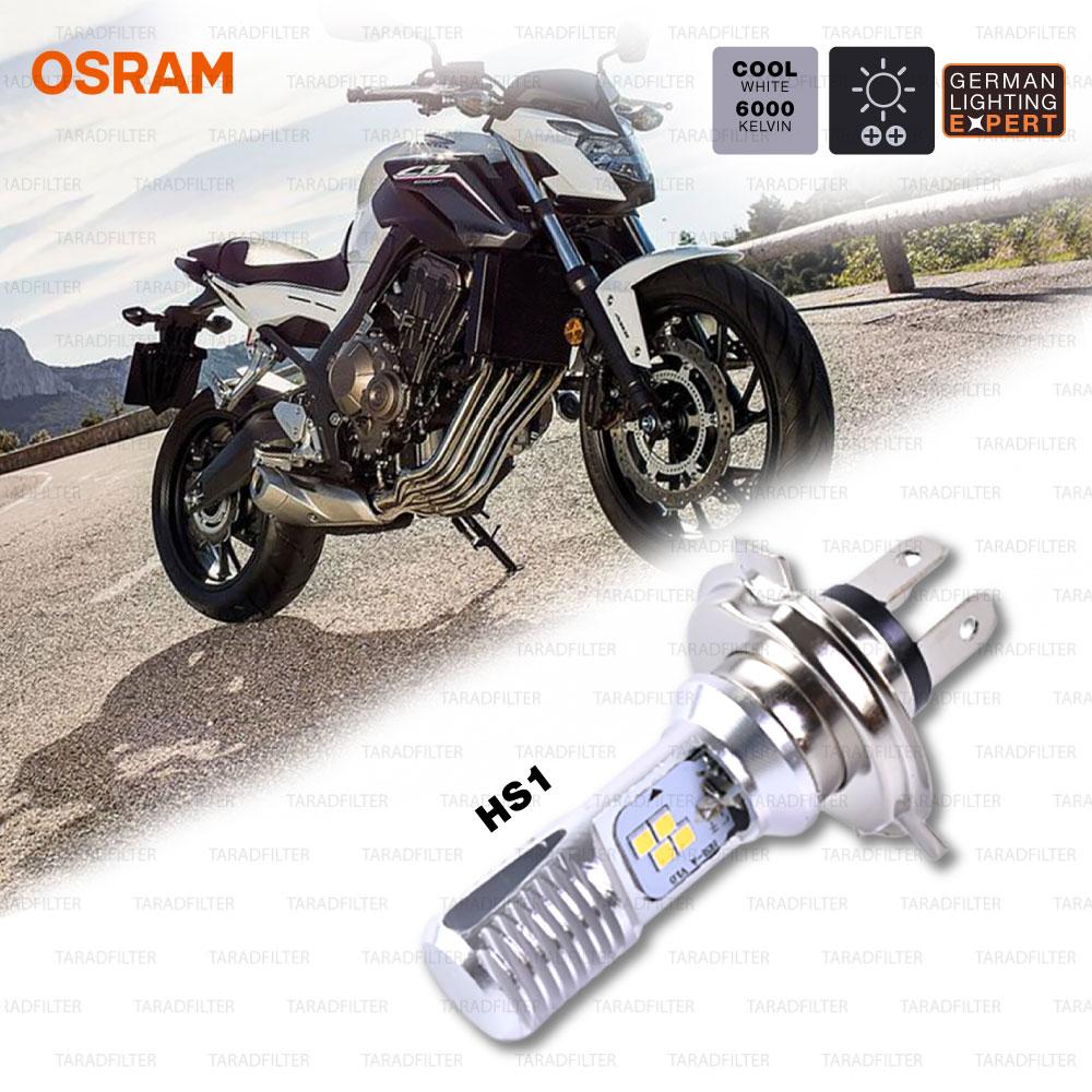 OSRAM หลอดไฟหน้ามอเตอร์ไซค์ LED ขั้ว HS1 สี COOL WHITE / 6,000 KELVIN (สามารถใส่แทน H4 ได้) 12V 5/6W ใช้สำหรับ VESPA, CB500X, CB650F