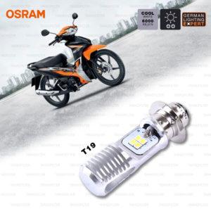 OSRAM หลอดไฟหน้ามอเตอร์ไซค์ LED รุ่น T19 สี COOL WHITE / 6,000 KELVIN [ 12V / 5-6W ]