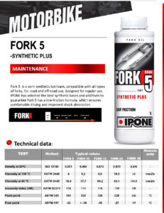 IPONE FORK FLUID Synthetic PLUS Grade 5
