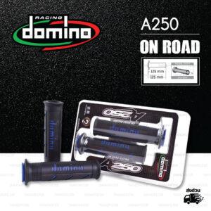 DOMINO MANOPOLE GRIP ปลอกแฮนด์ รุ่น A250 รุ่นใหม่ล่าสุด สีดำ-น้ำเงิน ใช้สำหรับรถมอเตอร์ไซค์ [ 1 คู่ ]