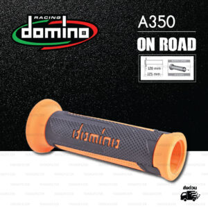 DOMINO MANOPOLE GRIP ปลอกแฮนด์ รุ่น A350 สีดำ-ส้ม ใช้สำหรับรถมอเตอร์ไซค์ [ 1 คู่ ]