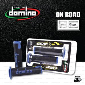 DOMINO MANOPOLE GRIP ปลอกแฮนด์ รุ่น A450 รุ่นใหม่ล่าสุด สีดำ-น้ำเงิน ใช้สำหรับรถมอเตอร์ไซค์ [ 1 คู่ ]