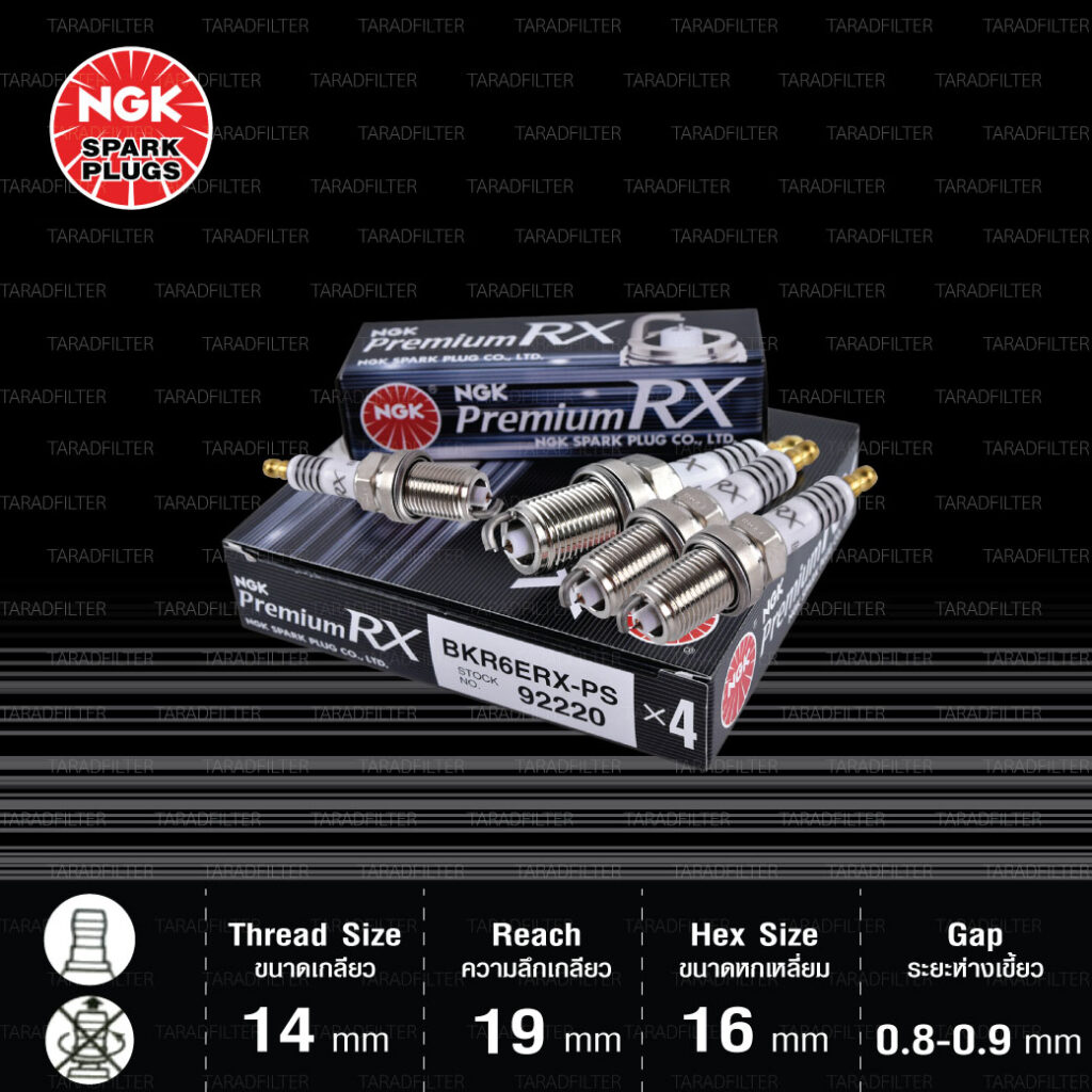 NGK หัวเทียน Premium RX ขั้ว Ruthenium BKR6ERX-PS [ ใช้อัพเกรด BKR6E ] - Made in Japan