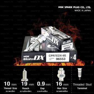 NGK หัวเทียน MotoDX ขั้ว Ruthenium CPR7EDX-9S [ ใช้สำหรับ CLICK125i / AIR BLADE-i / PCX150 '14-'17 ] (1 หัว) - Made in Japan
