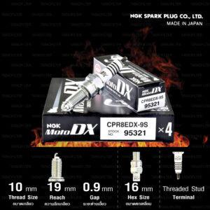 NGK หัวเทียน MotoDX ขั้ว Ruthenium CPR8EDX-9S [ ใช้สำหรับ ADV150 / PCX150 '18>/ R15 '17-'20 / MT-15 '18> / CRF250L / CB300F / CBR250R / CBR300R / Rebel300 / CB500X ] (1 หัว) - Made in Japan