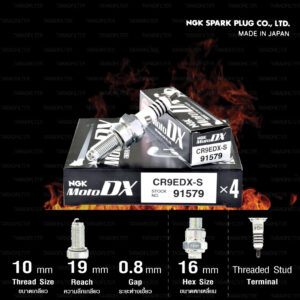 NGK หัวเทียน MotoDX ขั้ว Ruthenium CR9EDX-S [ ใช้สำหรับ YZF-R15 ก่อน 2017 / M-slaz / ER6N / Ninja650 / Versys650 ] (1 หัว) - Made in Japan