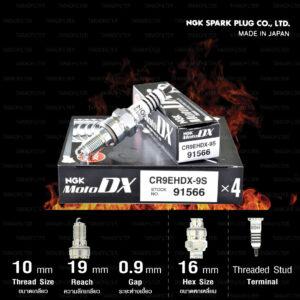 NGK หัวเทียน MotoDX ขั้ว Ruthenium CR9EHDX-9S [ ใช้สำหรับ CB650F / CBR650F / CBR1000RR ] (1 หัว) - Made in Japan