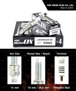 NGK หัวเทียน MotoDX ขั้ว Ruthenium LMAR8ADX-9S [ ใช้สำหรับ XMAX300 / Forza300 / MT-07 / T100, T120, Thruxton R 1200 New Model / YZF-R3 ปี '18 ขึ้นไป ] (1 หัว) - Made in Japan