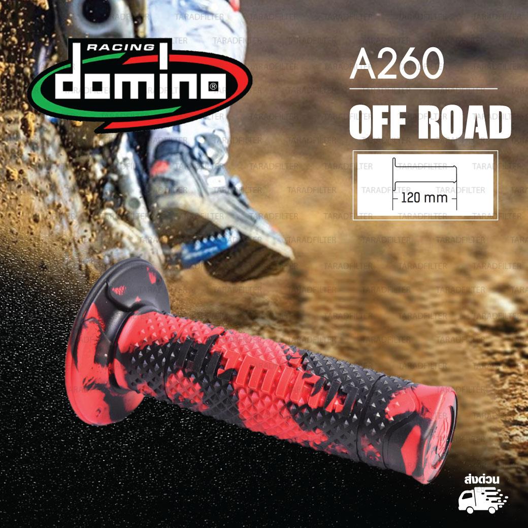 DOMINO MANOPOLE GRIP ปลอกแฮนด์ รุ่น A260 Off Road (ปลายปิด) สีแดง-ดำ ใช้สำหรับรถมอเตอร์ไซค์ [ 1 คู่ ]