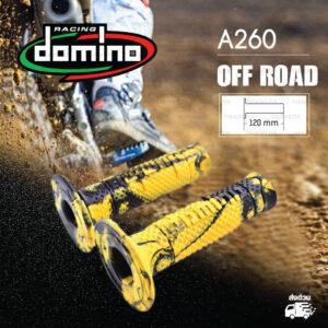 DOMINO MANOPOLE GRIP ปลอกแฮนด์ รุ่น A260 Off Road (ปลายปิด) สีเหลือง-ดำ ใช้สำหรับรถมอเตอร์ไซค์ [ 1 คู่ ]