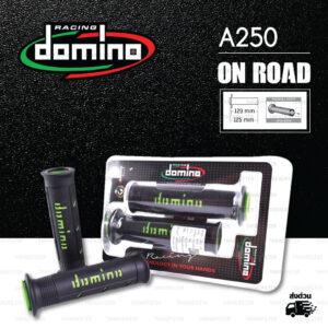 DOMINO MANOPOLE GRIP ปลอกแฮนด์ รุ่น A250 สีดำ-เขียว ใช้สำหรับรถมอเตอร์ไซค์ [ 1 คู่ ]