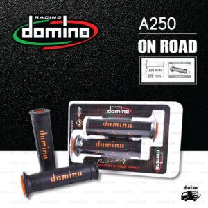 DOMINO MANOPOLE GRIP ปลอกแฮนด์ รุ่น A250 สีดำ-ส้ม ใช้สำหรับรถมอเตอร์ไซค์ [ 1 คู่ ]
