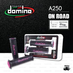 DOMINO MANOPOLE GRIP ปลอกแฮนด์ รุ่น A250 สีดำ-ชมพู ใช้สำหรับรถมอเตอร์ไซค์ [ 1 คู่ ]