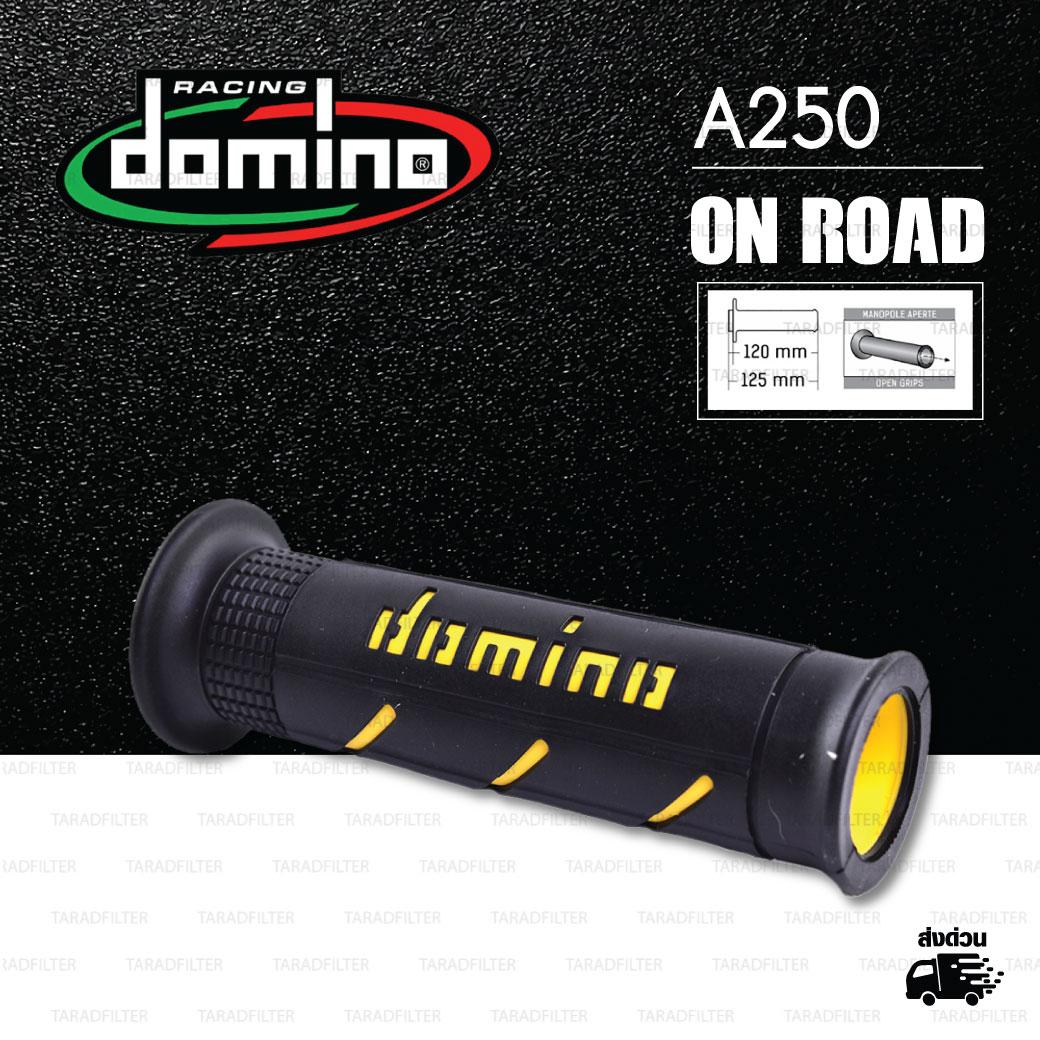 DOMINO MANOPOLE GRIP ปลอกแฮนด์ รุ่น A250 สีดำ-เหลือง ใช้สำหรับรถมอเตอร์ไซค์ [ 1 คู่ ]