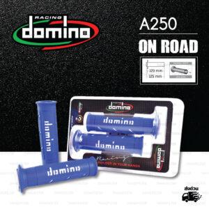 DOMINO MANOPOLE GRIP ปลอกแฮนด์ รุ่น A250 สีน้ำเงิน-ขาว ใช้สำหรับรถมอเตอร์ไซค์ [ 1 คู่ ]