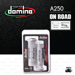 DOMINO MANOPOLE GRIP ปลอกแฮนด์ รุ่น A250 สีเทา-ดำ ใช้สำหรับรถมอเตอร์ไซค์ [ 1 คู่ ]