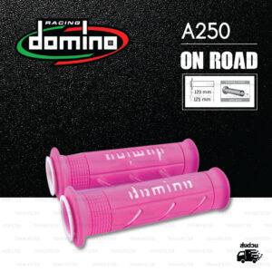 DOMINO MANOPOLE GRIP ปลอกแฮนด์ รุ่น A250 สีชมพู-ขาว ใช้สำหรับรถมอเตอร์ไซค์ [ 1 คู่ ]