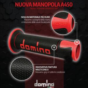 DOMINO MANOPOLE GRIP ปลอกแฮนด์ รุ่น A450 รุ่นใหม่ล่าสุด สีดำ-แดง ใช้สำหรับรถมอเตอร์ไซค์ [ 1 คู่ ]