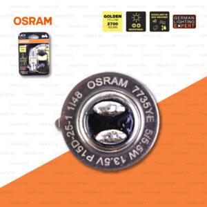 OSRAM หลอดไฟหน้ามอเตอร์ไซค์ LED รุ่น T19 สี GOLDEN YELLOW / 2,700 KELVIN P15d-25-1 [ 13.5V / 5/5.5W ] 7735YE