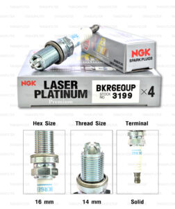 NGK หัวเทียน LASER PLATINUM BKR6EQUP ใช้สำหรับรถยนต์ AUDI 4.2 FSI / BWM Series 3 5 7 X3 X5 Z-series / Mini 1.6L บางปี - Made in Japan
