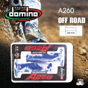 DOMINO MANOPOLE GRIP ปลอกแฮนด์ รุ่น A260 Off Road (ปลายปิด) สีน้ำเงิน-ขาว ใช้สำหรับรถมอเตอร์ไซค์ [ 1 คู่ ] แถมลวดพันแฮนด์