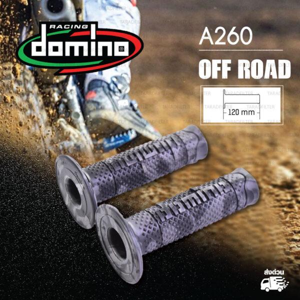 DOMINO MANOPOLE GRIP ปลอกแฮนด์ รุ่น A260 Off Road (ปลายปิด) สี เทา-Camo ใช้สำหรับรถมอเตอร์ไซค์ [ 1 คู่ ] แถมลวดพันแฮนด์