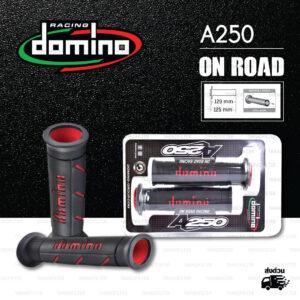 DOMINO MANOPOLE GRIP ปลอกแฮนด์ รุ่น A250 สีดำ-แดง ใช้สำหรับรถมอเตอร์ไซค์ [ 1 คู่ ]