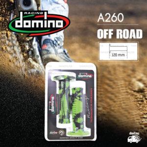 DOMINO MANOPOLE GRIP ปลอกแฮนด์ รุ่น A260 Off Road (ปลายปิด) สีเขียว-ดำ ใช้สำหรับรถมอเตอร์ไซค์ [ 1 คู่ ] แถมลวดพันแฮนด์