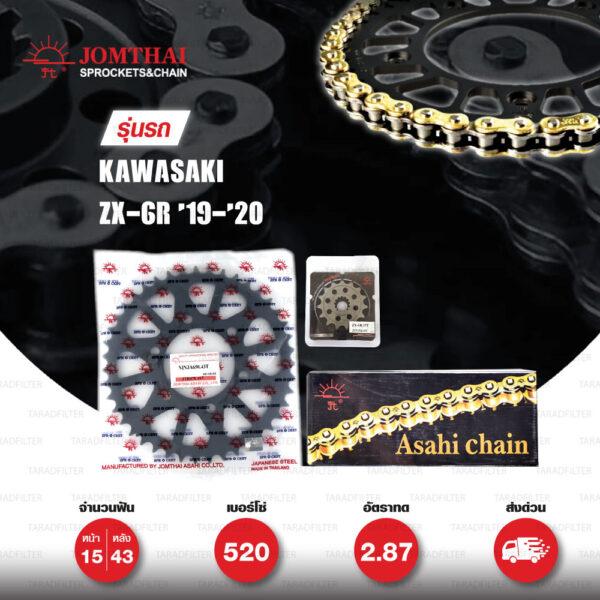 JOMTHAI ชุดโซ่-สเตอร์ โซ่ ZX-ring (ZSMX) สีทอง และ สเตอร์สีดำ ใช้สำหรับมอเตอร์ไซค์ Kawasaki ZX-6R '19-'20 [15/43]