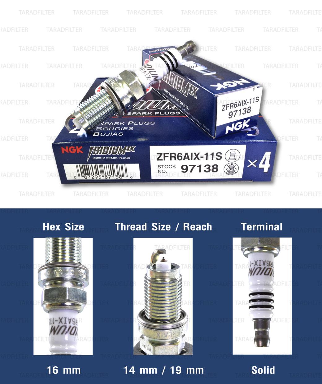 หัวเทียน NGK ZFR6FIX-11S ขั้ว Iridium ใช้สำหรับ Honda Civic Dimension, Accord V6, CRV 2.0,2.4, New CRV, New ODYSSEY, Chevrolet Cruze 1.8