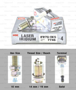 NGK หัวเทียน Laser Iridium ขั้ว Iridium IFR7G-11KS ใช้สำหรับรถยนต์ - Made in Japan