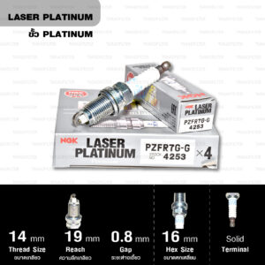 หัวเทียน NGK PZFR7G-G ขั้ว Laser Platinum (1 หัว) – Made in Japan