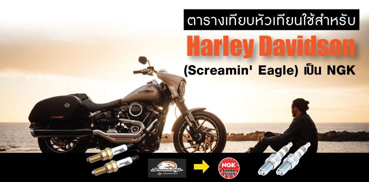 ตารางแปลงหัวเทียน Harley Davidson (Screamin' Eagle) เป็น NGK